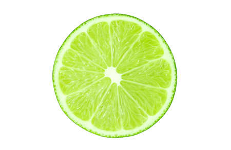 Lime cut isolated on a white background, the element of packaging design. Foto de archivo