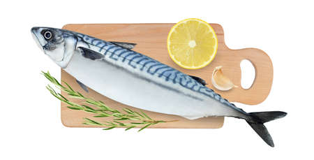 Raw mackerel fish on cutting board isolated on a white background. Full depth of field. Top view. Foto de archivo