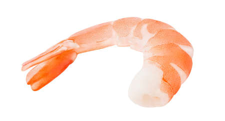 Shrimp peeled, prawn cooked isolated on a white background. Full depth of field. Element of packaging design. Foto de archivo