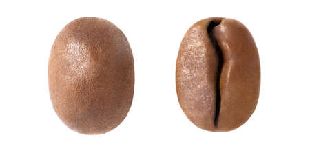 Coffee beans, roasted, two pieces, macro, top view isolated on white background, the element of packaging design.