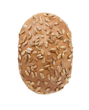 Dark bread with sunflower seeds, top view, isolated on white background, the element of packaging design. Foto de archivo