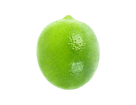 Lime whole, one, citrus fruit, top view isolated on white background, element of packaging design. Full depth of field.