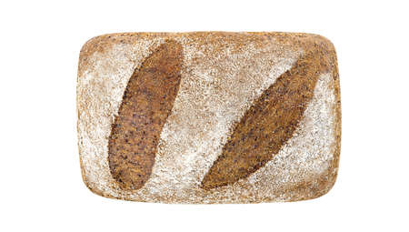 Bread dark, loaf, top view isolated on white background