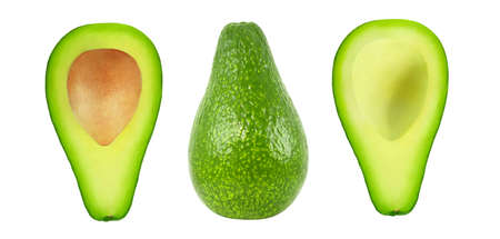 Avocado fruit, whole and cut isolated on white background , element of packaging design.  Set of parts. Foto de archivo