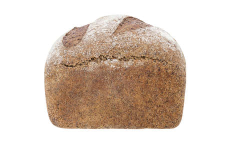 Dark bread with flour whole, side view isolated on white background