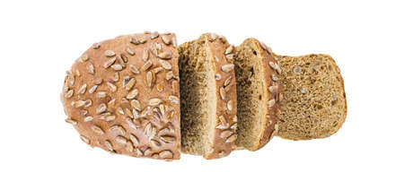 Bread with sunflower seeds, cut slices, top view, isolated on white background, element of packaging design.