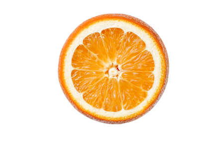 Orange cut the middle of a citrus fruit, isolated on white background