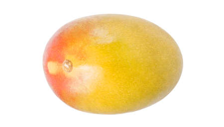 Mango whole one, isolated on white background, element of packaging design. Top view.