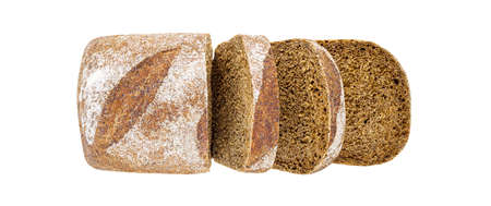 Dark bread, cut into pieces, top view, isolated on white background