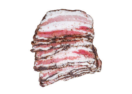 Bacon sliced with black pepper and spices isolated on white background with clipping path. Top view.
