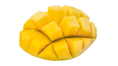 Mango cut into cubes, isolated on white background , element of packaging design.