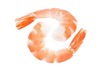 Shrimps peeled, prawn cooked, two pieces isolated on white background , element of packaging design. Foto de archivo