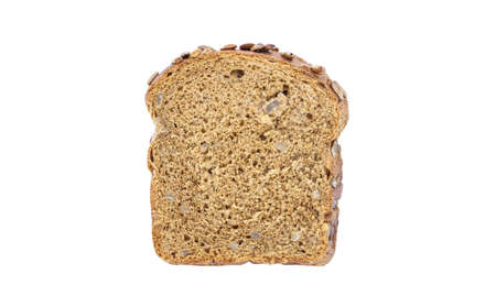 Dark bread, with sunflower seeds, cut off piece isolated on white background