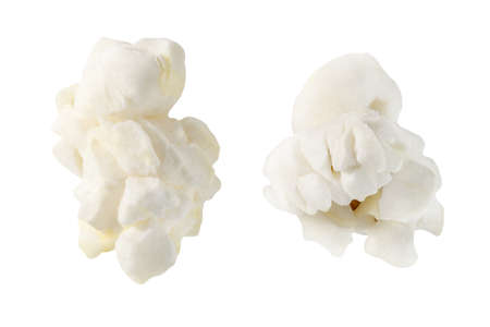 Popcorn, two open corn, isolated on white background, element of packaging design.