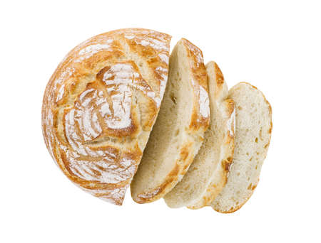 Bread round, cut into pieces, top view, isolated on white background