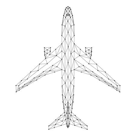 Aircraft passenger jet, top view, from abstract futuristic polygonal black lines and dots. Vector illustration.