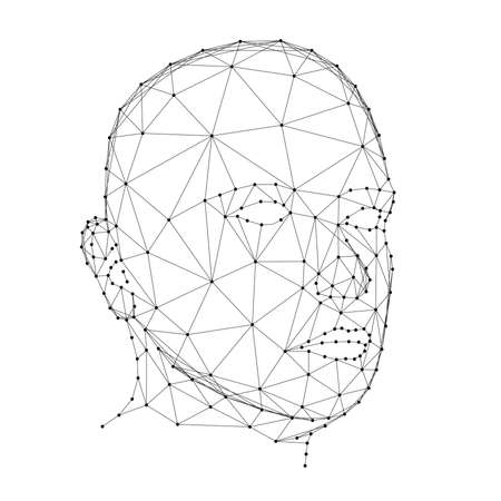Human head, male face, from abstract futuristic polygonal black lines and dots. Vector illustration.
