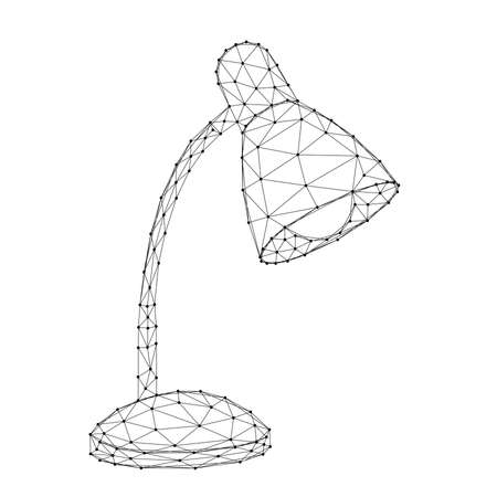 Table lamp, lamp with lampshade, from abstract futuristic polygonal black lines and dots. Vector illustration.