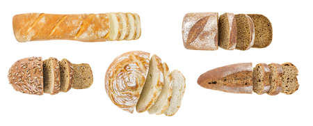 Bakery products baking sliced, set of white and dark bread, top view, isolated on white background