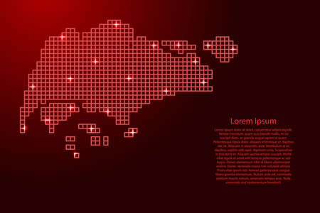 Singapore map silhouette from red mosaic structure squares and glowing stars. Vector illustration.