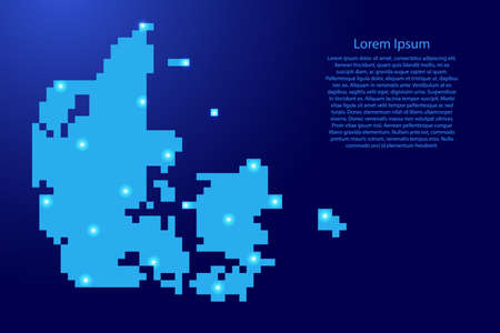 Denmark map silhouette from blue square pixels and glowing stars. Vector illustration. Illustration
