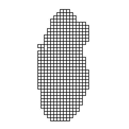 Qatar map silhouette from black pattern mosaic structure of squares. Vector illustration. Illustration