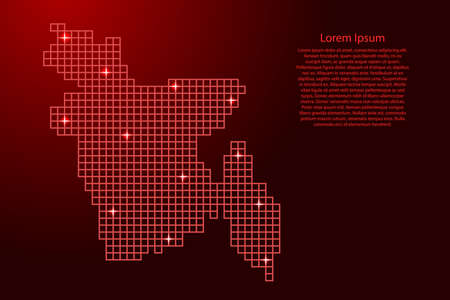 Bangladesh map silhouette from red mosaic structure squares and glowing stars. Vector illustration.