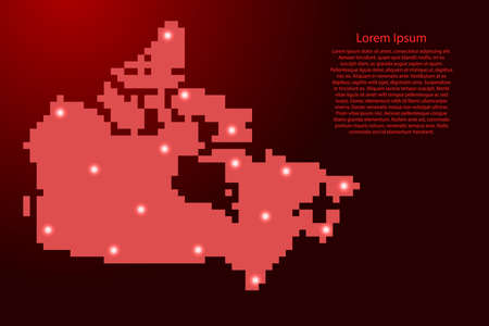 Canada map silhouette from red square pixels and glowing stars. Vector illustration. Illustration