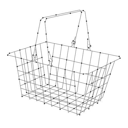Shopping cart for groceries from abstract futuristic polygonal black lines and dots. Vector illustration.