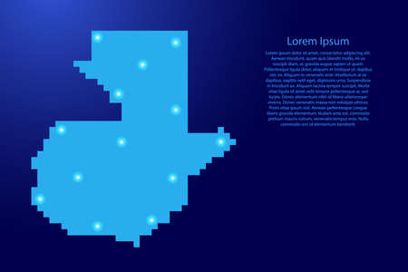 Guatemala map silhouette from blue square pixels and glowing stars. Vector illustration. Illustration