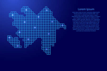 Azerbaijan map silhouette from blue mosaic structure squares and glowing stars. Vector illustration.