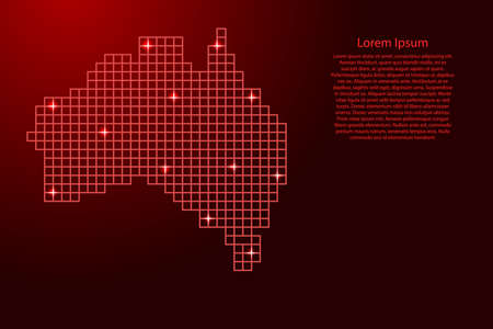 Australia map silhouette from red mosaic structure squares and glowing stars. Vector illustration.