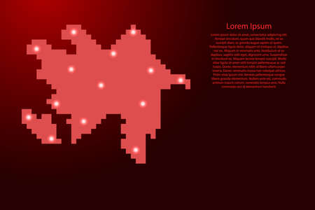 Azerbaijan map silhouette from red square pixels and glowing stars. Vector illustration. Illustration