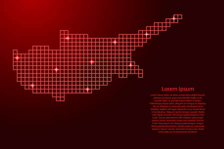 Cyprus map silhouette from red mosaic structure squares and glowing stars. Vector illustration.