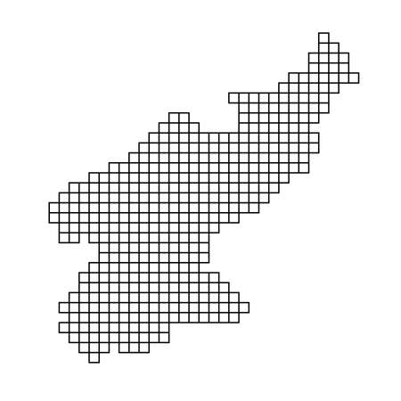 North Korea map silhouette from black pattern mosaic structure of squares. Vector illustration. Illustration
