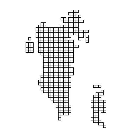 Bahrain map silhouette from black pattern mosaic structure of squares. Vector illustration. Illustration