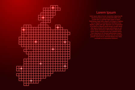 Ireland map silhouette from red mosaic structure squares and glowing stars. Vector illustration. Illustration