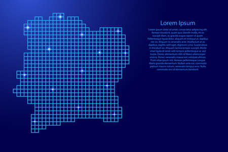 Ivory Coast map silhouette from blue mosaic structure squares and glowing stars. Vector illustration. Illustration