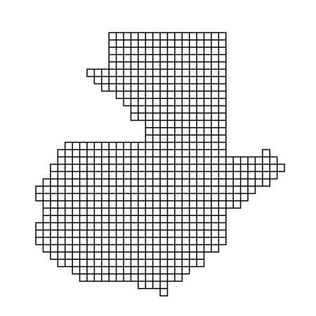 Guatemala map silhouette from black pattern mosaic structure of squares. Vector illustration.