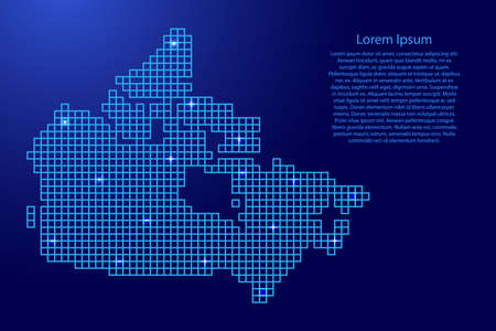 Canada map silhouette from blue mosaic structure squares and glowing stars. Vector illustration. Illustration