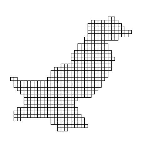 Pakistan map silhouette from black pattern mosaic structure of squares. Vector illustration. Illustration