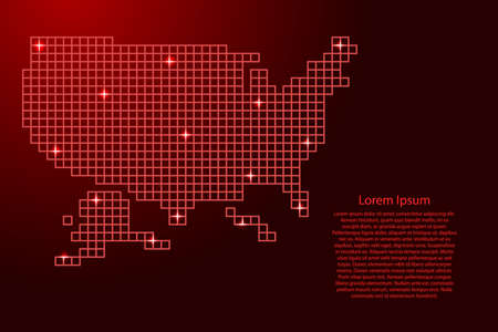United States, USA map silhouette from red mosaic structure squares and glowing stars. Vector illustration.