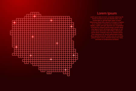 Poland map silhouette from red mosaic structure squares and glowing stars. Vector illustration.