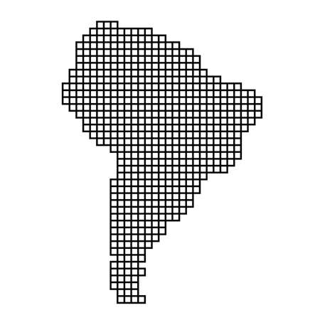South America map silhouette from black pattern mosaic structure of squares. Vector illustration.