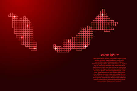 Malaysia map silhouette from red mosaic structure squares and glowing stars. Vector illustration.