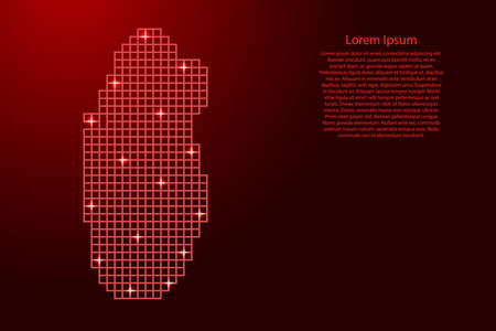 Qatar map silhouette from red mosaic structure squares and glowing stars. Vector illustration. Illustration