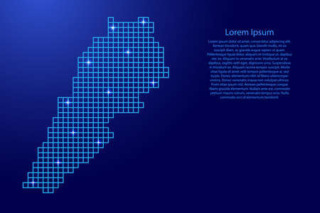 Lebanon map silhouette from blue mosaic structure squares and glowing stars. Vector illustration.