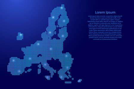 European Union map silhouette from blue mosaic structure squares and glowing stars. Vector illustration.