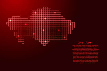Kazakhstan map silhouette from red mosaic structure squares and glowing stars. Vector illustration.
