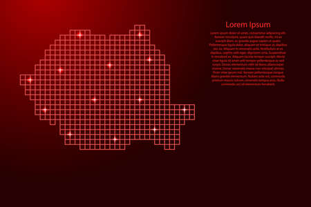 Romania map silhouette from red mosaic structure squares and glowing stars. Vector illustration. Illustration